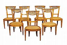 A set of Italian walnut chairs (7)