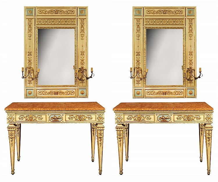 A pair of consoles with mirrors