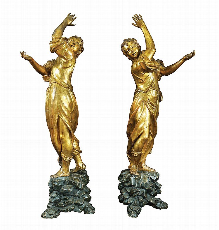 A pair of Italian giltwood sculptures