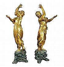 A pair of Italian giltwood sculptures