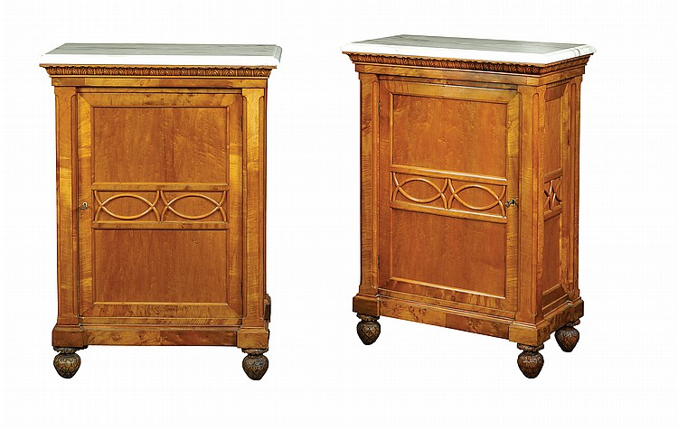 A pair of briar root and cherry wood sideboard