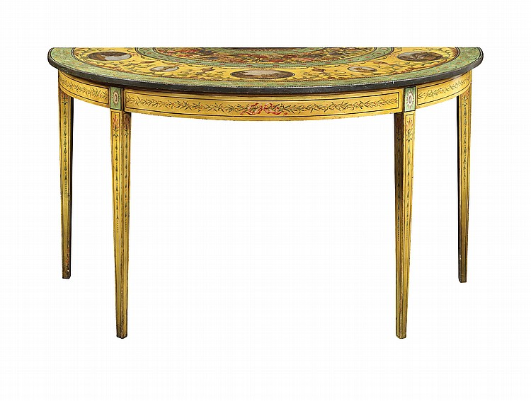 A demi-lune lacquered and painted English console