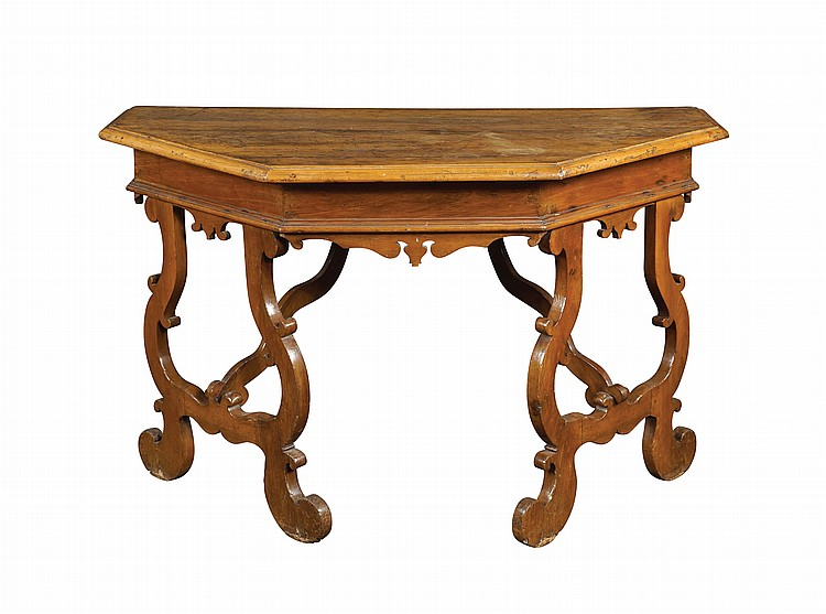 An Italian walnut console table