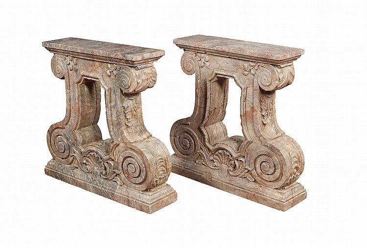 A pair of fior di pesco Carnico marble bases