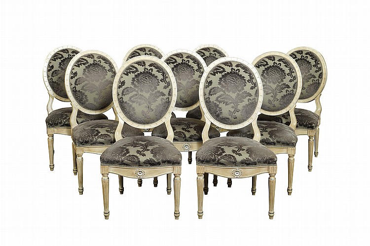 A set of lacquered wood chairs (14)
