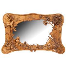A lime wood wall mirror France, 1900 50x85 cm.