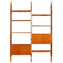 A design ash wood library Italy, around 1960 295x190x40 cm.