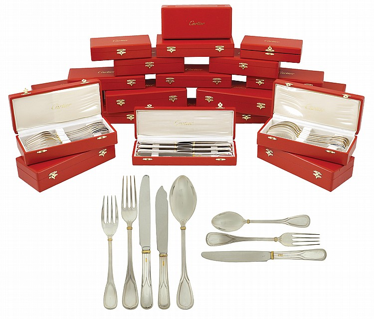 A Cartier silverplate flateware service (124)