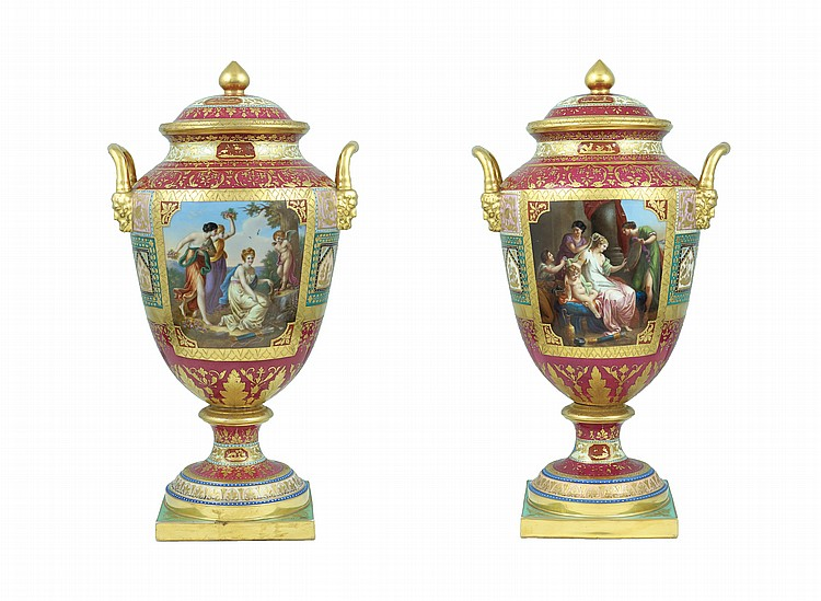 A pair of jars with porcelain covers