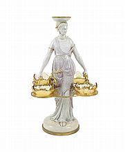 A French ceramic and gilt metal centerpiece