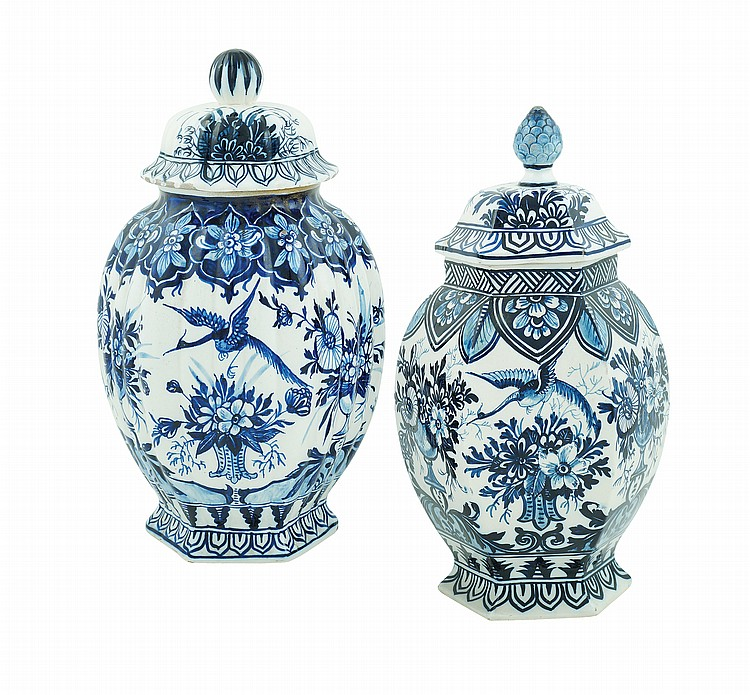 A pair of majolica potiches