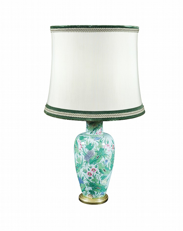 A French lamp in green porcelain