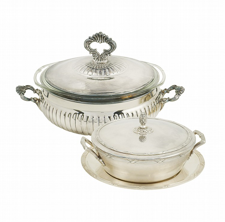 Two silver plated bean pots