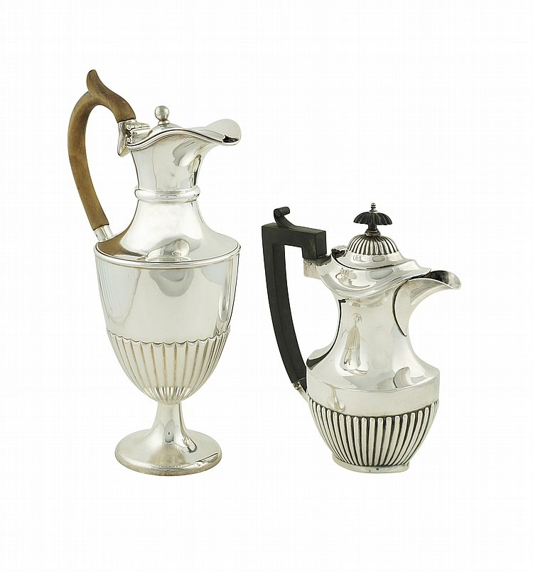 A pair of sheffield coffepots