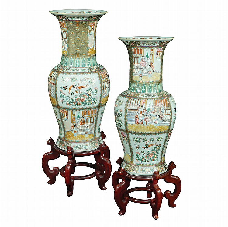 A pair of Chinese polychrome porcelain jar partially gilded
