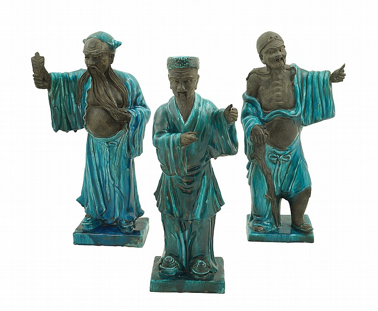 A group of three Chinese terracotta and glazed terracotta scultpures