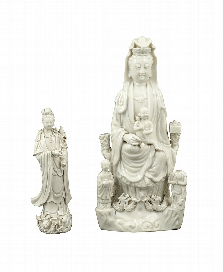 Two Blanc de china porcelain figures