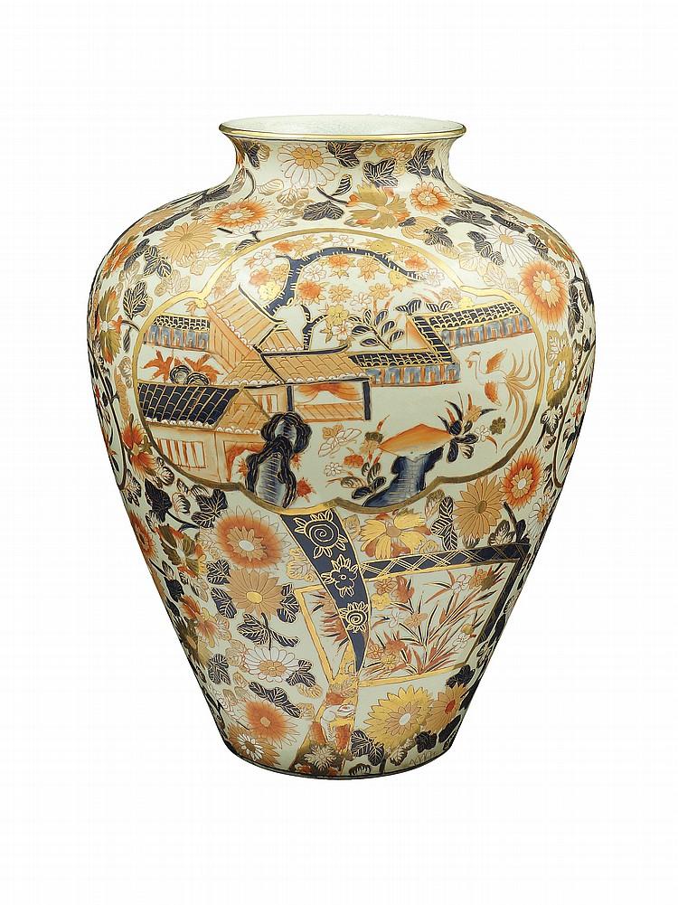 A Japanese polychromatic porcelain vase