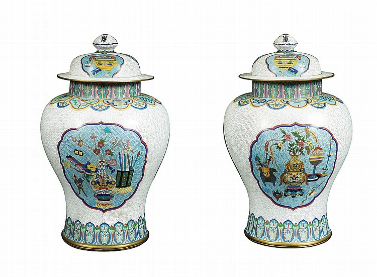 A pair of cloisonnè enamel potiches
