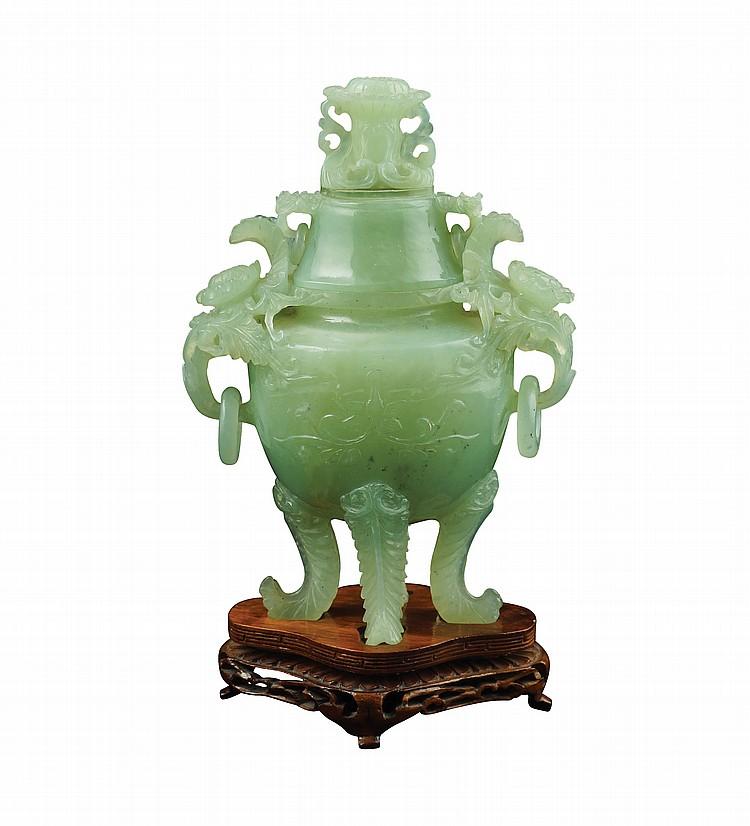 An Oriental jadeite censer