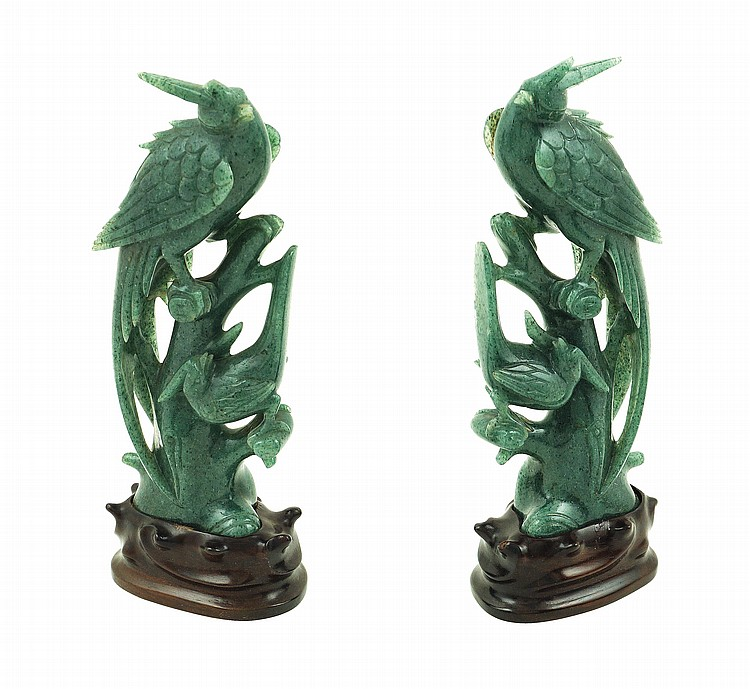 A pair of green aventurine sculptures