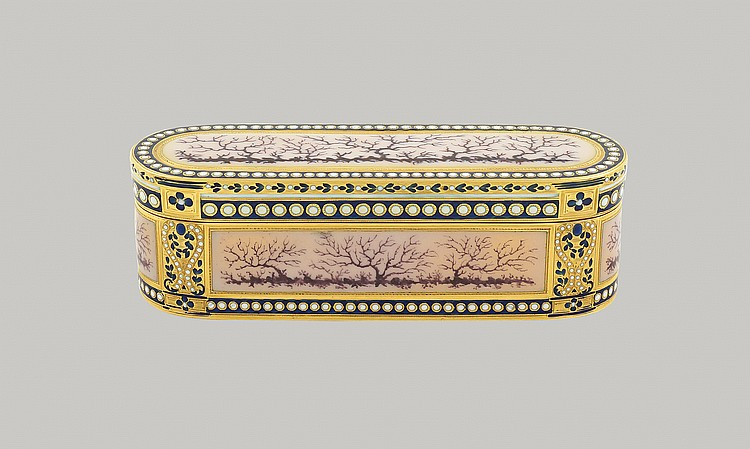 A Louis XVI gold and enamel snuff box
