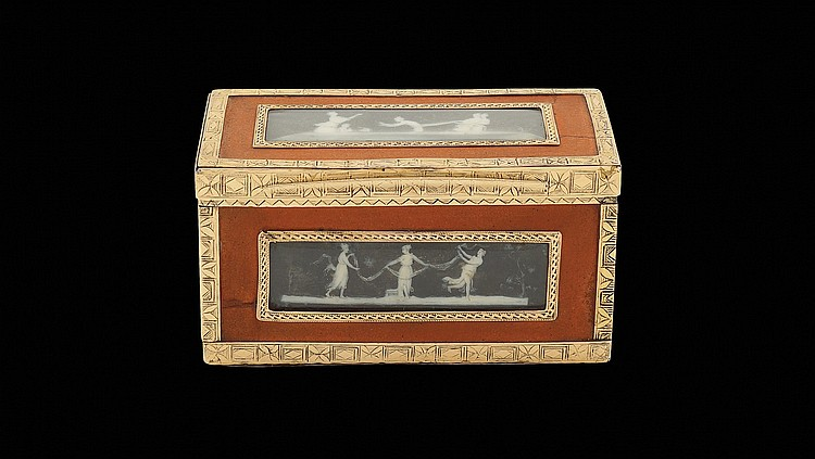A Louis XVI gold and red lacquer snuff box
