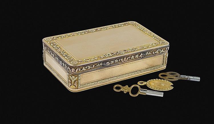 A Swiss gold music box