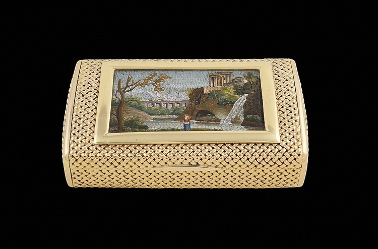 A Bulgari gold snuff box with a micromosaic plaque