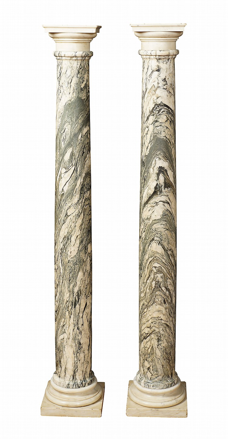 A pair of sea cipollino marble columns