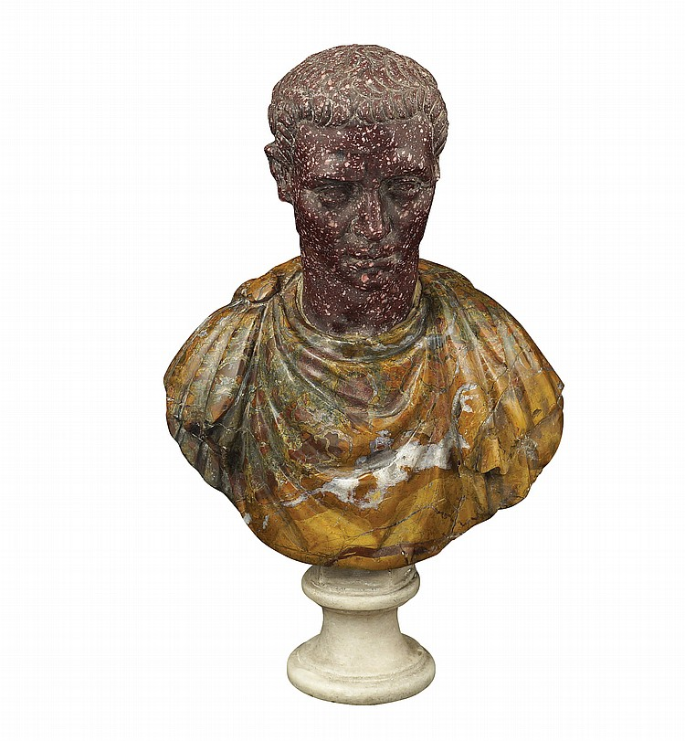 A porphyry and agate jasper bust
