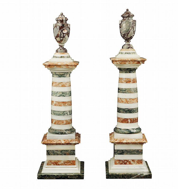 A pair of different marbles columns