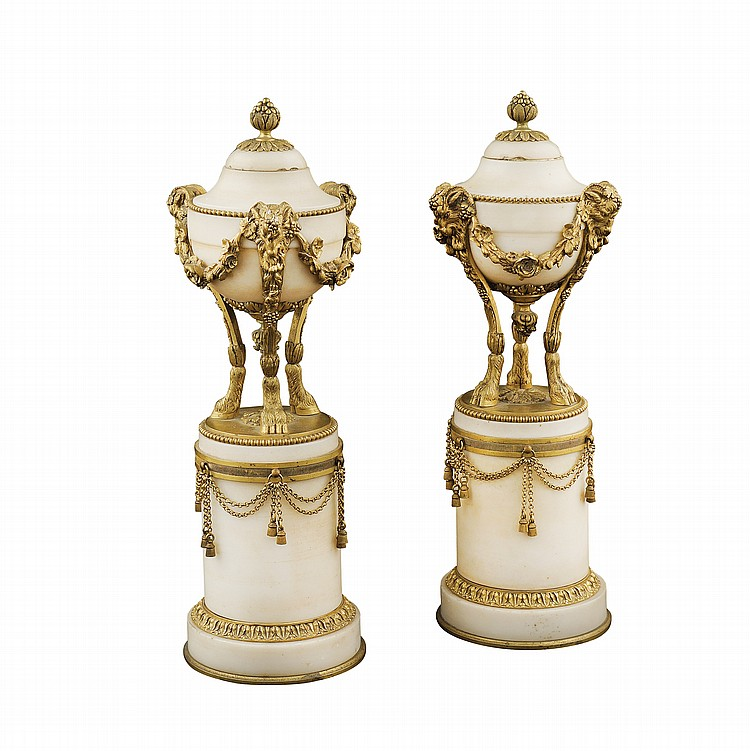 A pair of Louis XVI cassolettes