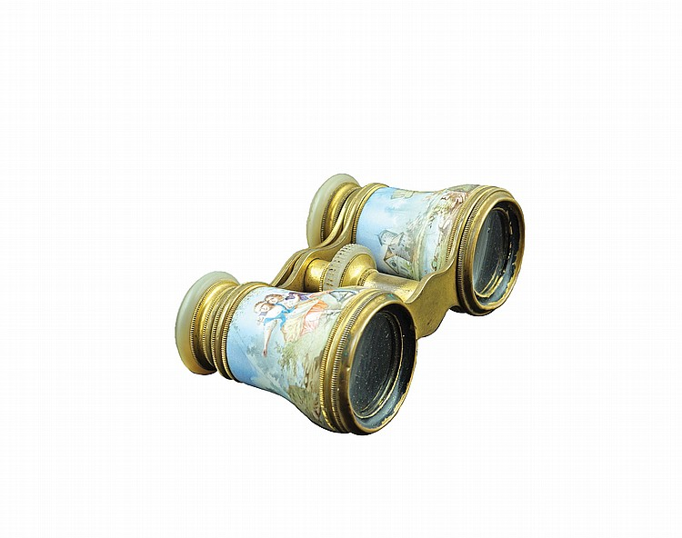 A bronze and enamel theatre binoculars