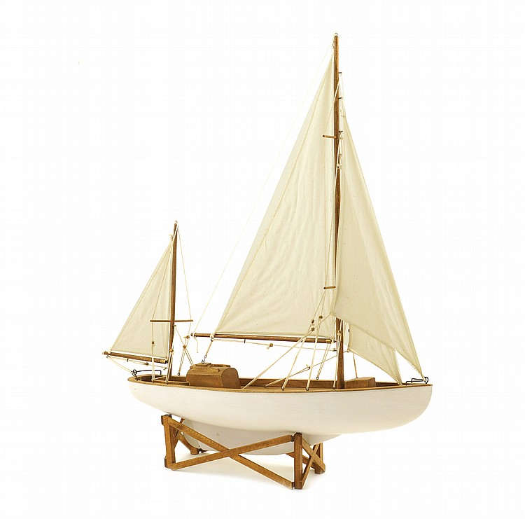 A wood sail boat model