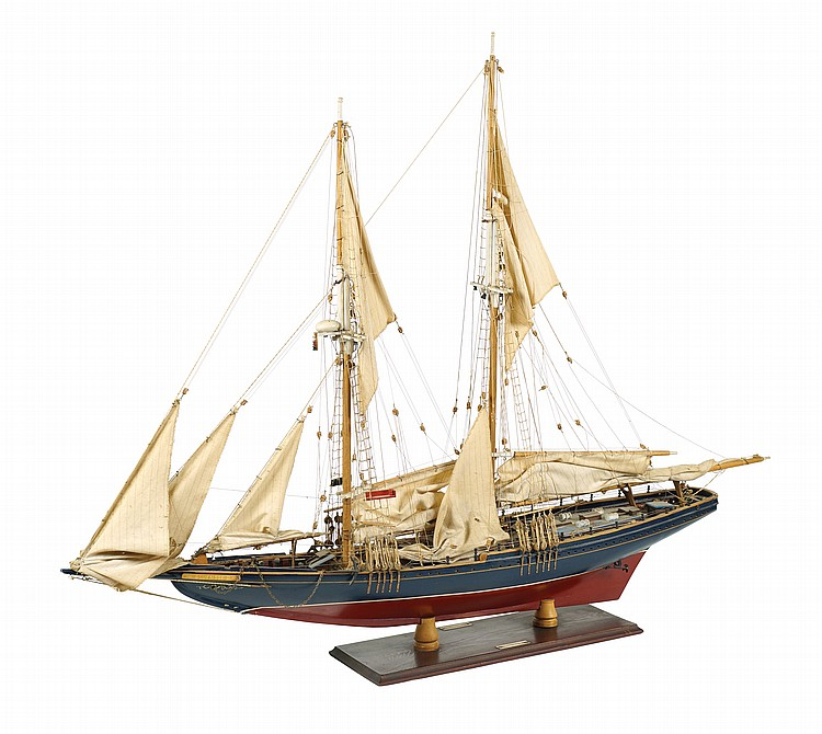 A wood Bluenose II ship model