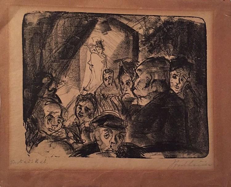 Ascheim Isidor, cabaret scene, original signed lithograph, 1920's   איזי
