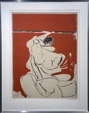 Brett Whiteley (1939-92) Australia - Figure on an Orange Background 1961