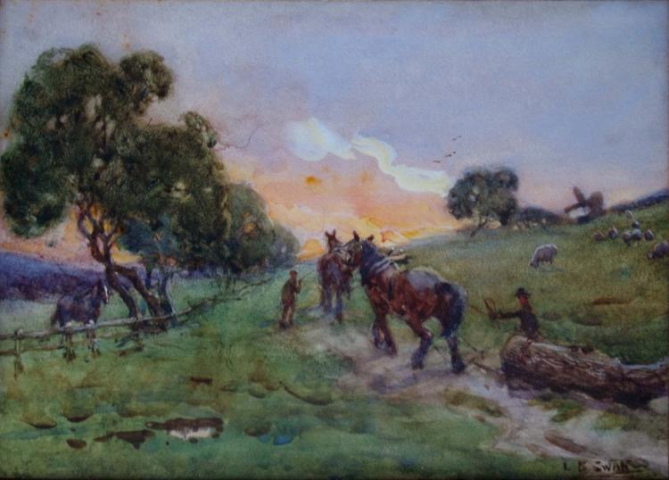 Lilian Bellingham Swan(1885-1951) Britain - (Landscape with Horses) *