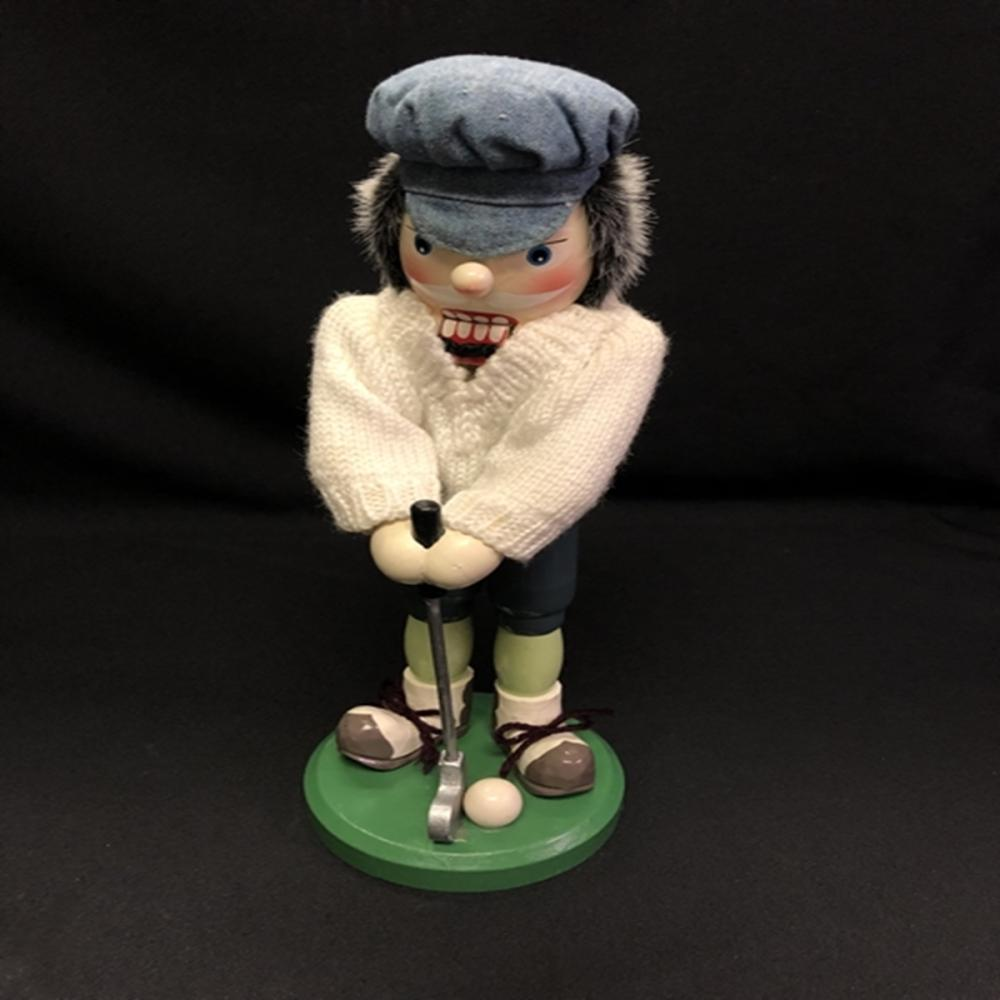 Golfer Nutcracker in White Knit Sweater