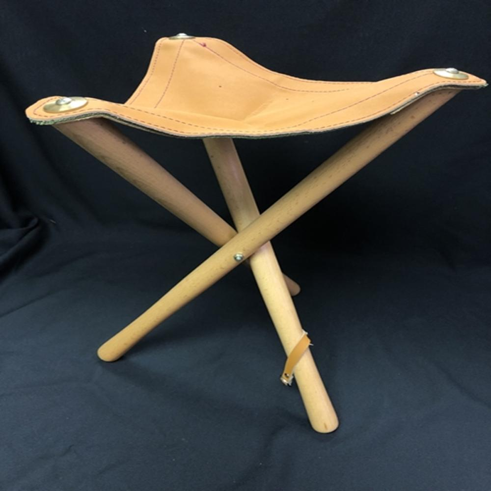 Three Legged Wood and Leather Folding Stool