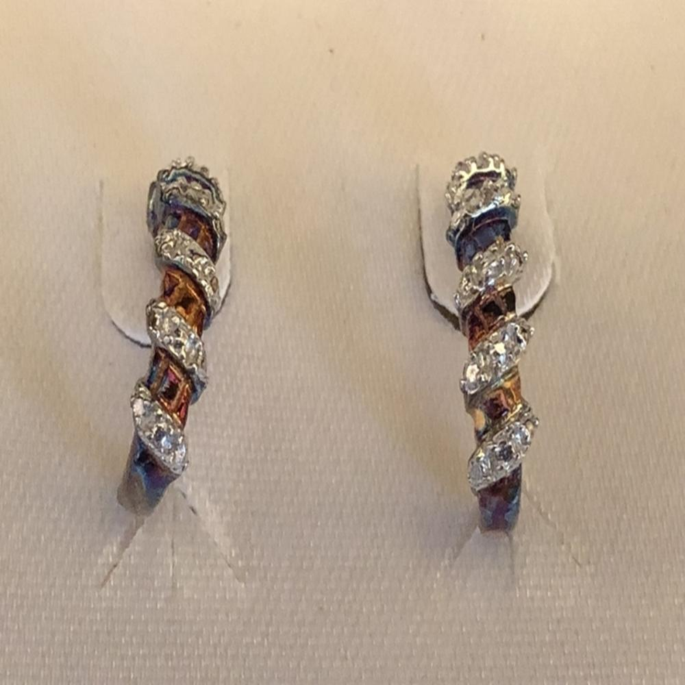 18k Gold Over Sterling Diamond Accent Earrings