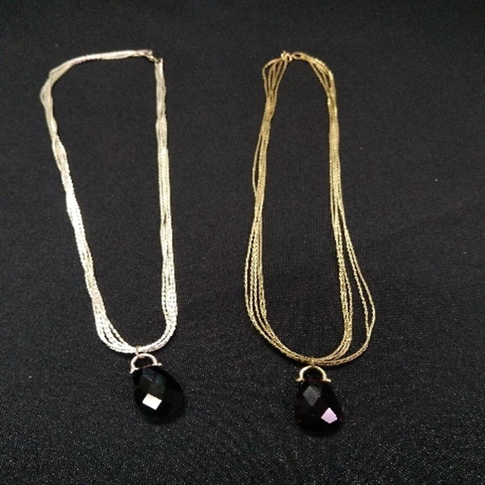 (2) Silver/Gold Toned Silver Necklaces w/Stone