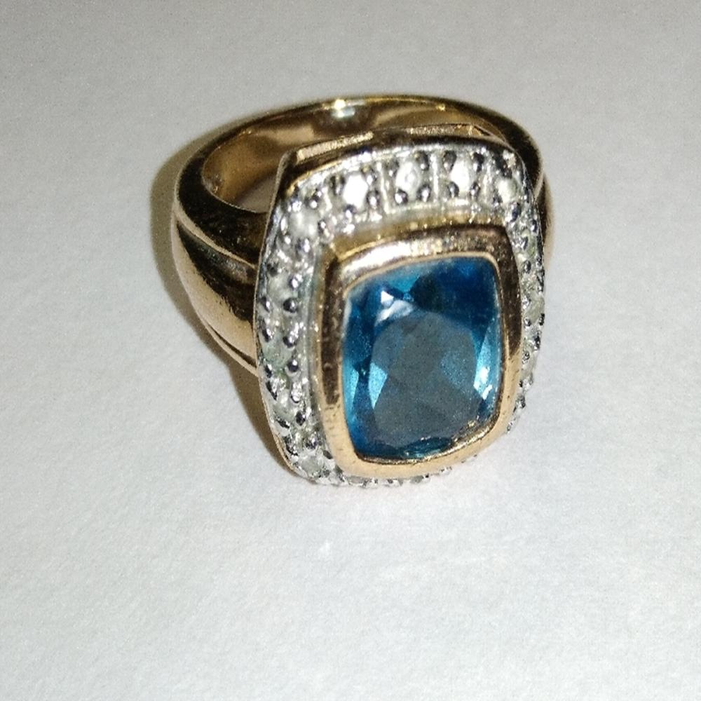 Gold Over Sterling Blue/White Topaz Ring
