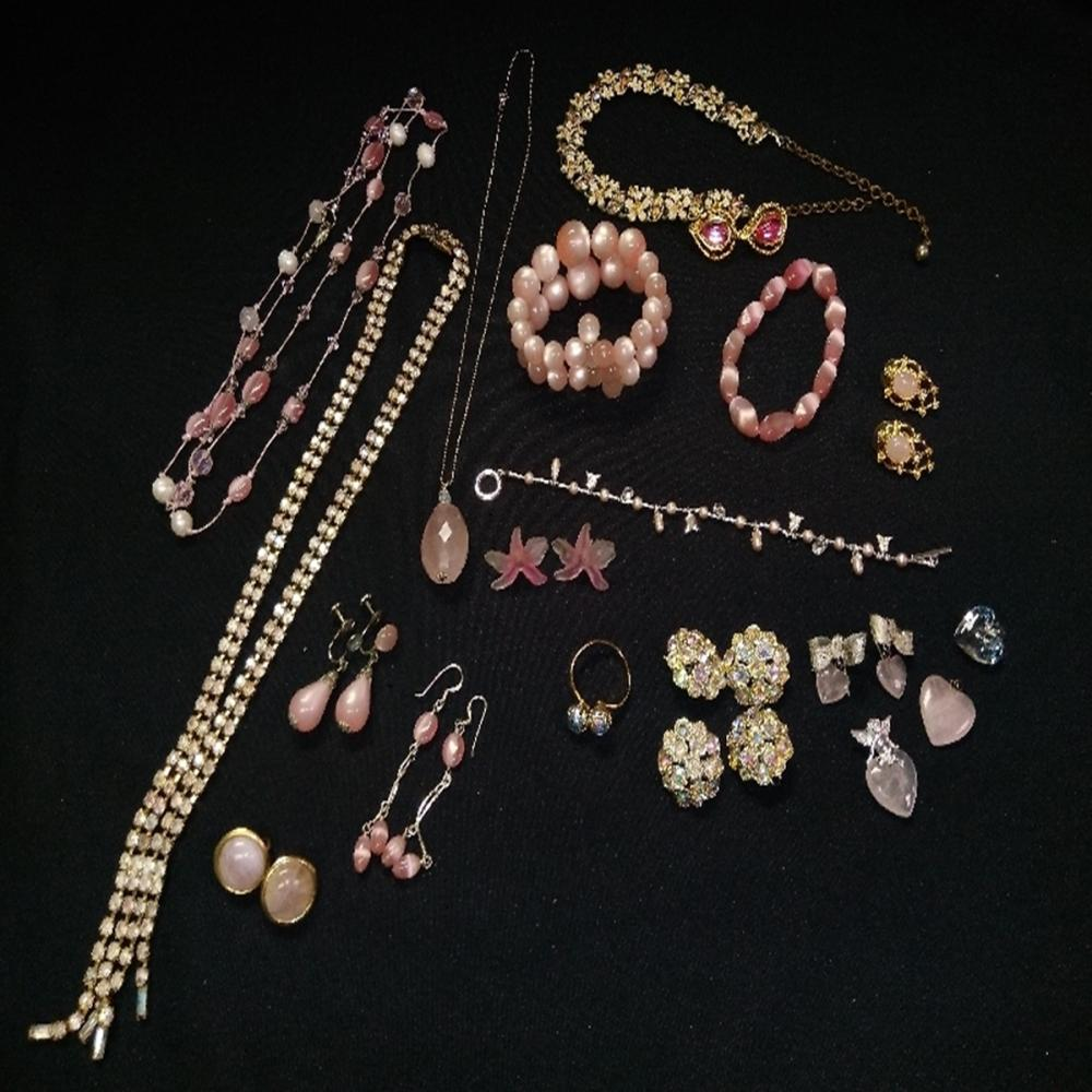 Pink Gems and Jewels Costume Jewelry Lot