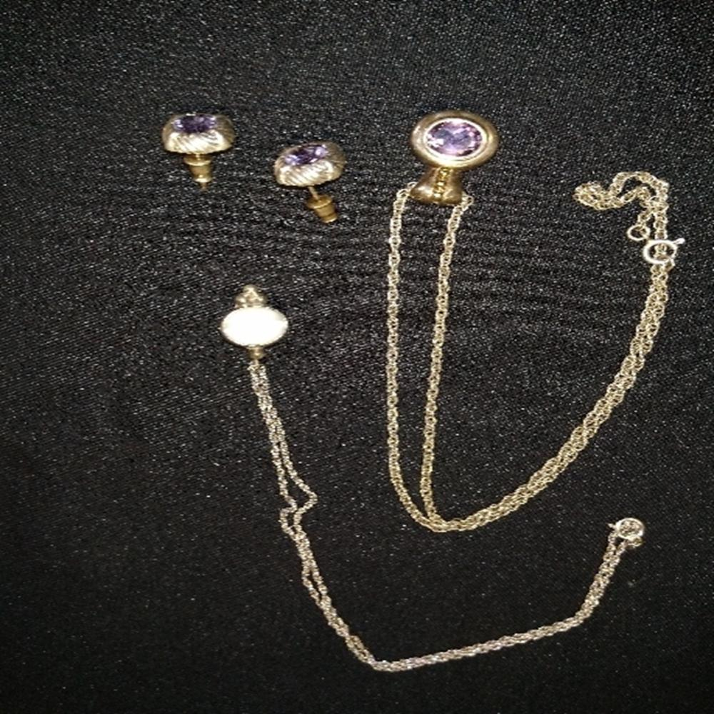 Amethyst and Sterling Necklace/Earring Set w/Bonus
