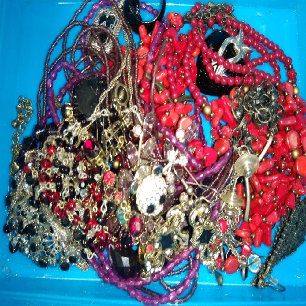 Costume Jewelry Lot : Red/Purple/Black Beading
