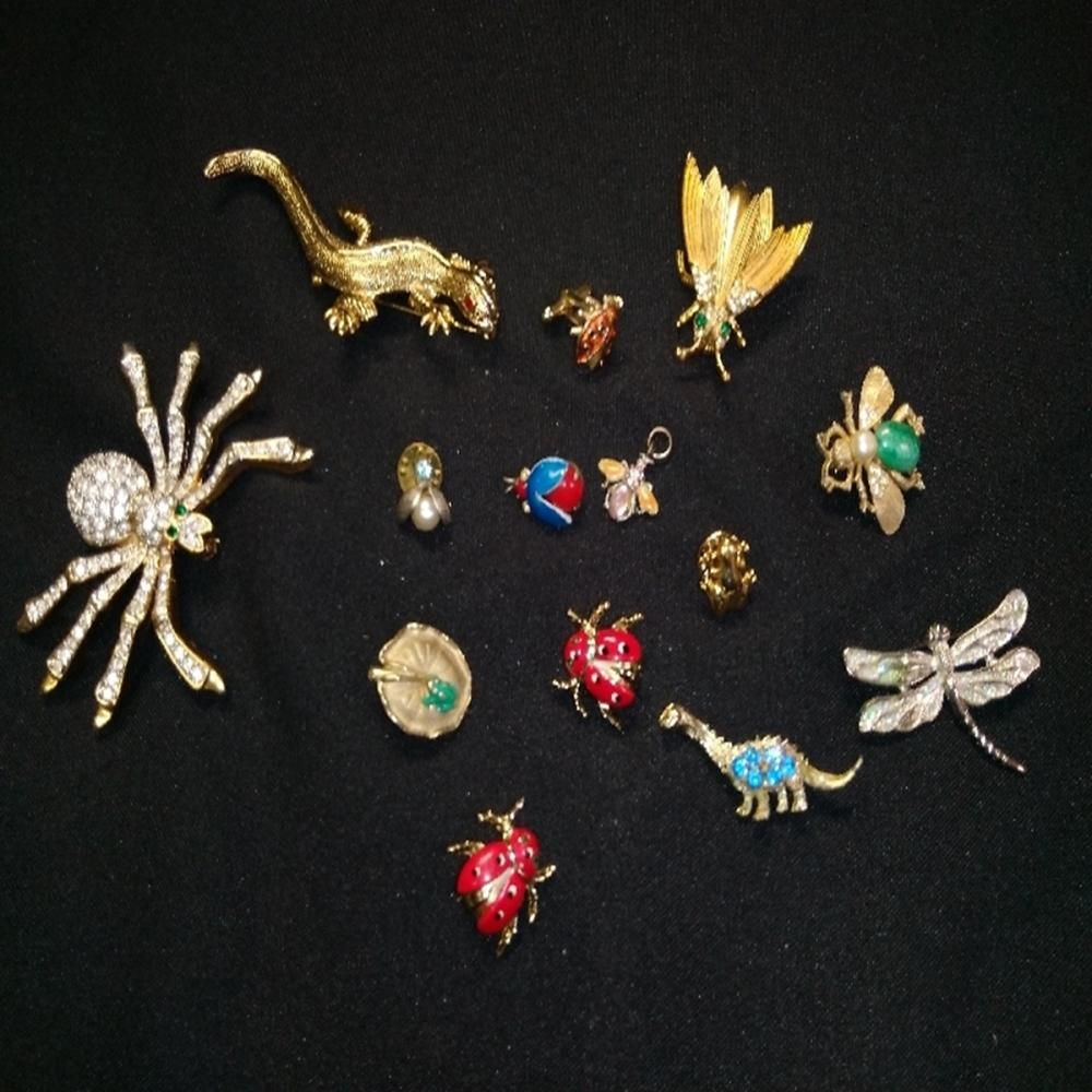 Sparkly Insect and Creepy Crawly Brooch Lot