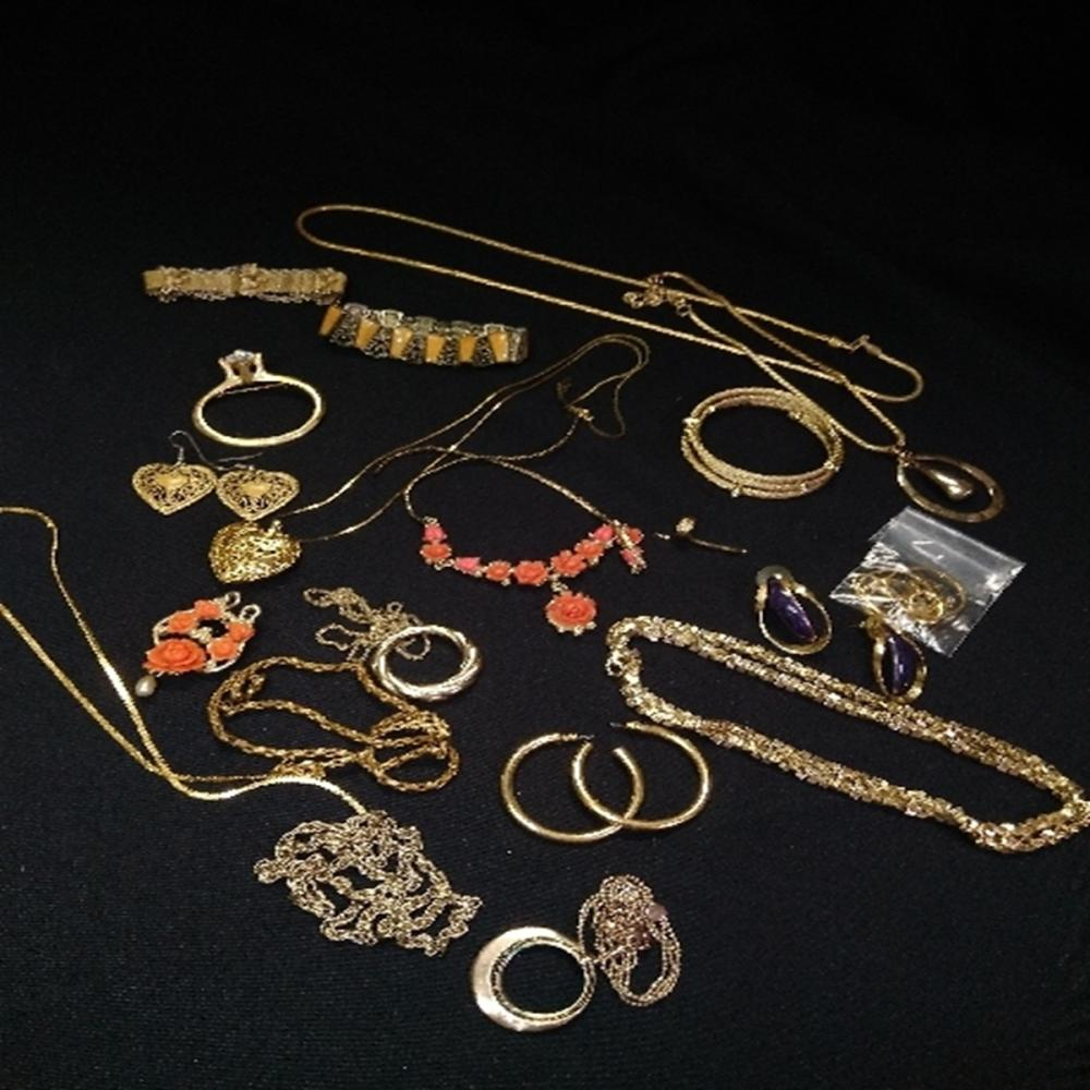 Bag of Gold Tone Costume Jewelry