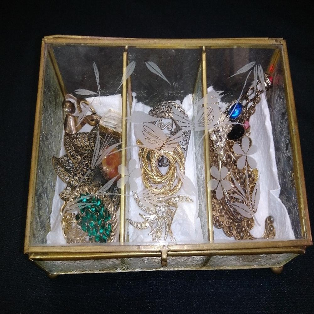 Glass Jewelry Box of Brooches